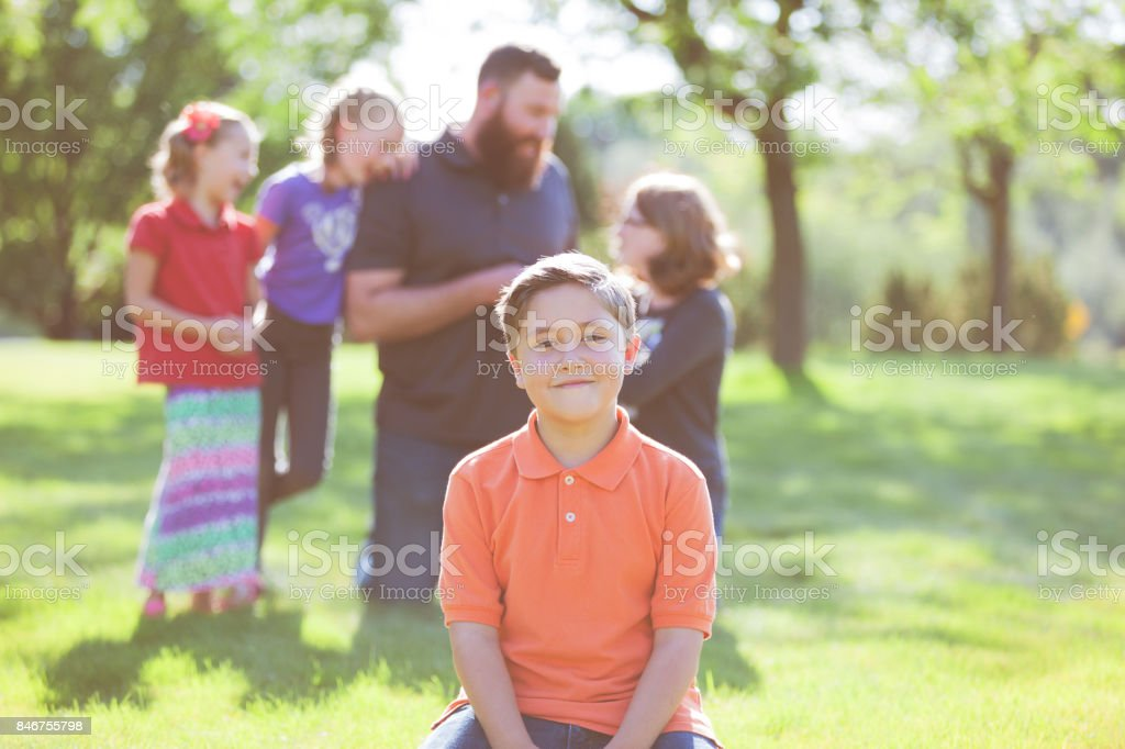 Dad and Children Late Summer Outdoor Family Fun stock photo