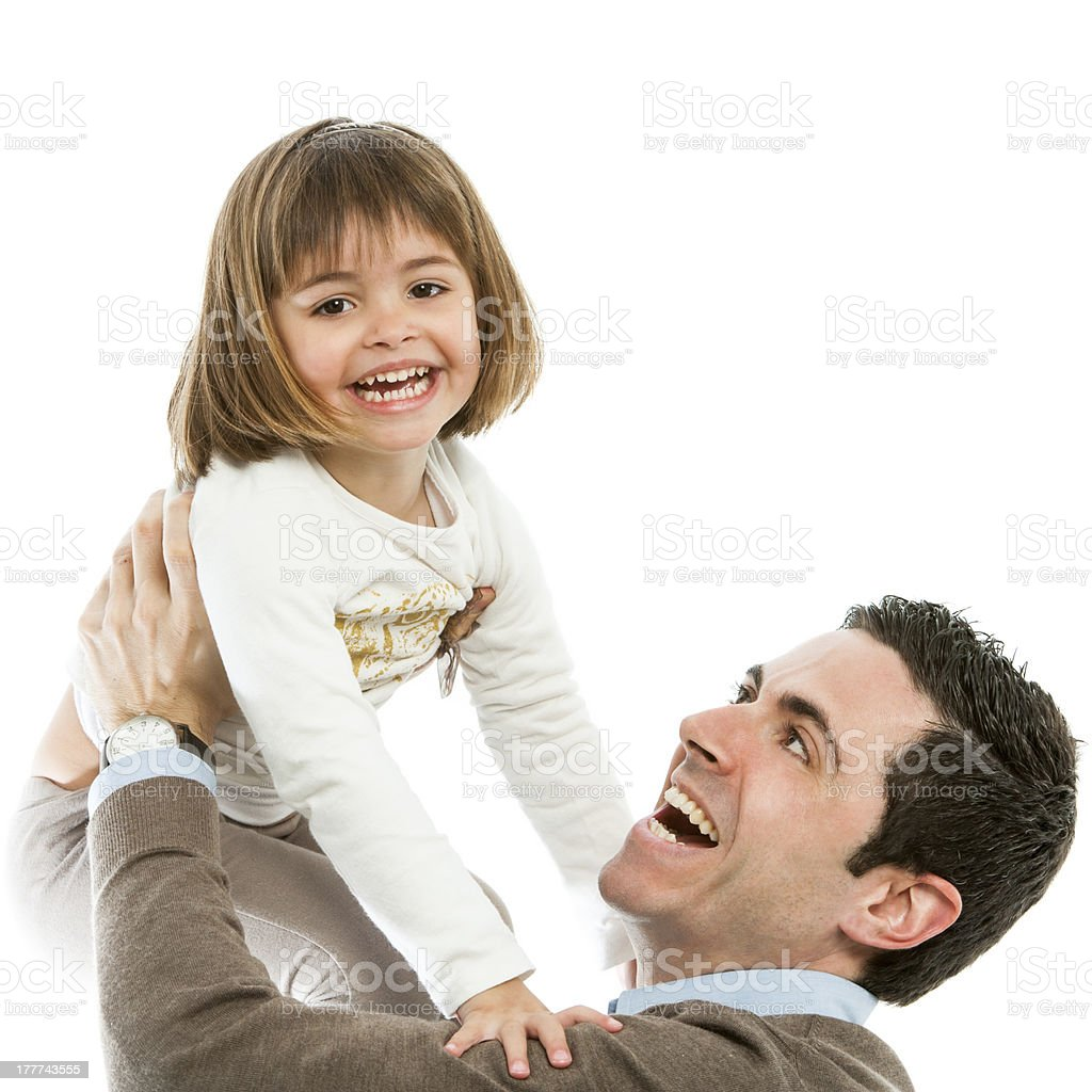 Dad and daughter playing around. royalty-free stock photo