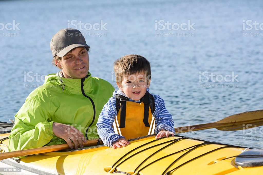 Dad and Son Enjoying stock photo