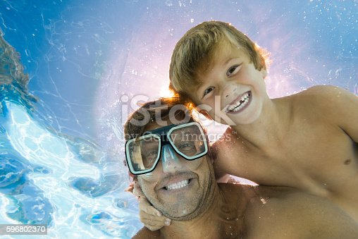 596350174 istock photo Dad and Son Having Fun Doing A Selfie Underwater 596802370