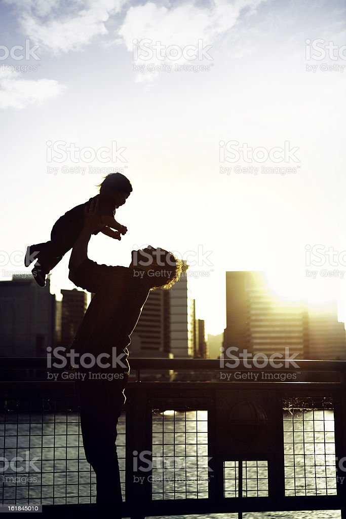 Dad and Son Silhouette royalty-free stock photo