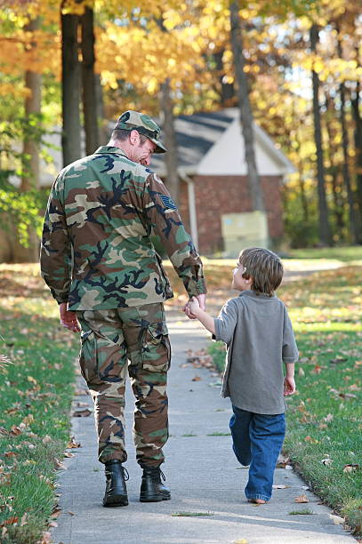 Dad and Son Walking stock photo