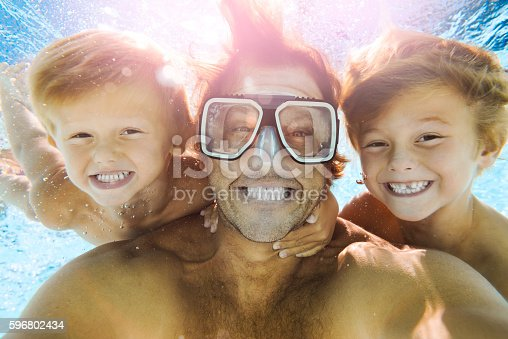 596350174 istock photo Dad and Sons Having Fun Doing A Selfie Underwater 596802434