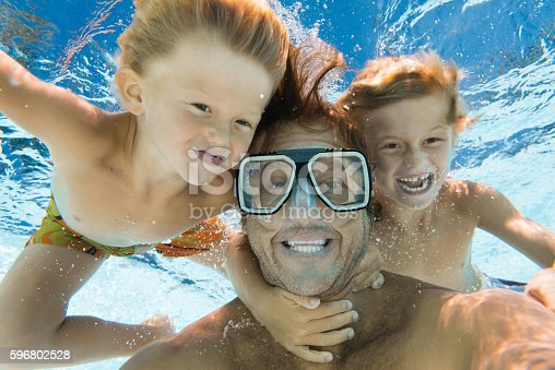 596350174 istock photo Dad and Sons Having Fun Doing A Selfie Underwater 596802528