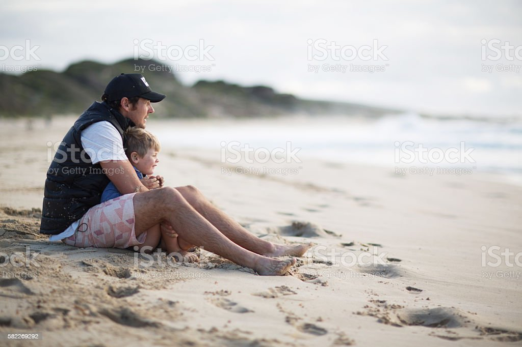 Dad holding Son stock photo