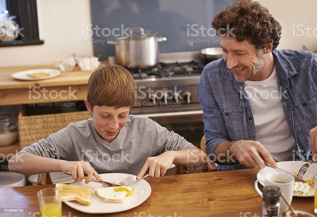 Dad makes the best breakfast stock photo
