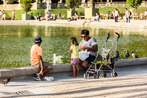 Dad with his children feed the birds in the Luxembourg Gardens. Paris, France