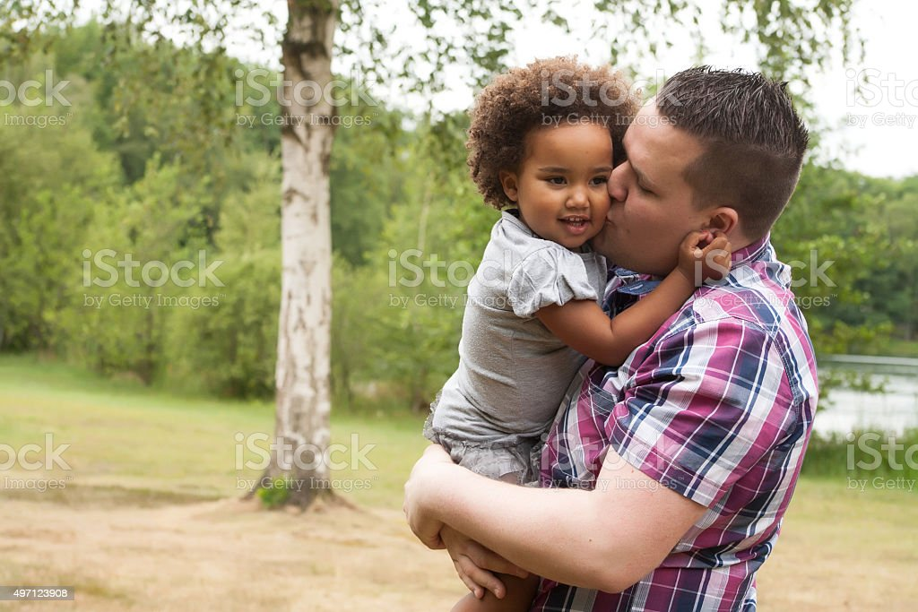 Daddy and his little girl stock photo
