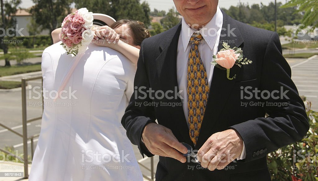 Daddy can't look royalty-free stock photo
