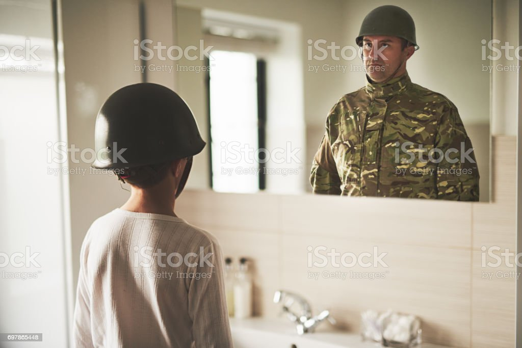 Daddy, come home stock photo