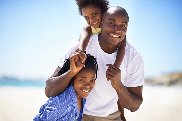 Daddy is our hero! stock photo