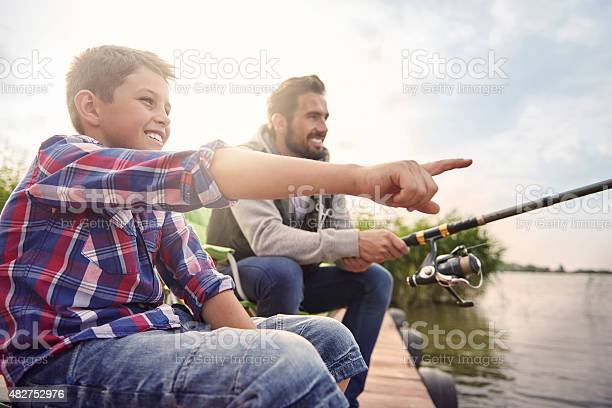 Daddy Look There Is A Big Fish Stock Photo - Download Image Now