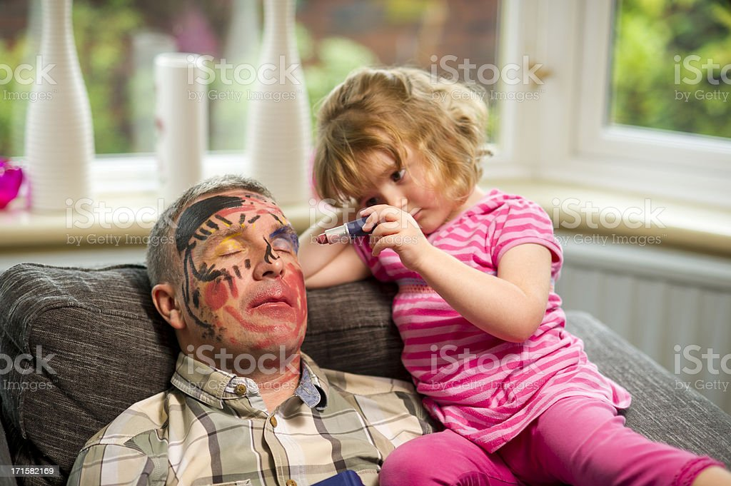 daddy make up time stock photo
