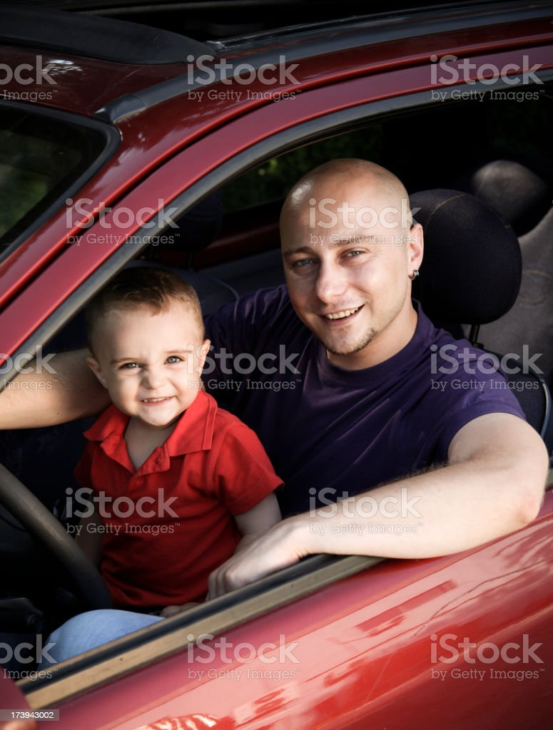 Daddy on Board stock photo