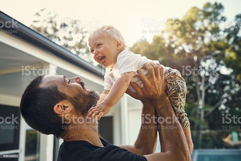 Daddy's big boy stock photo