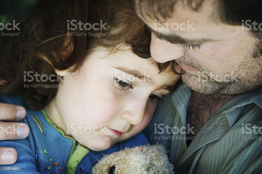 Daddy's Comfort- Series stock photo