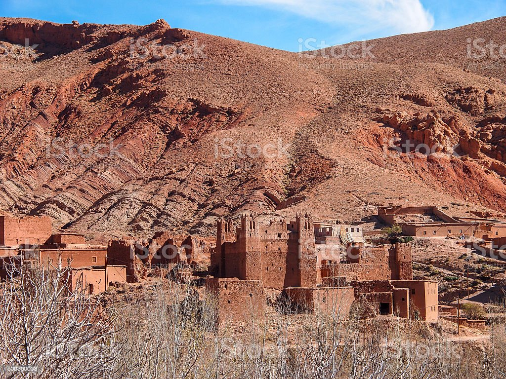 dades valley wild landscape and village in Morocco royalty-free stock photo