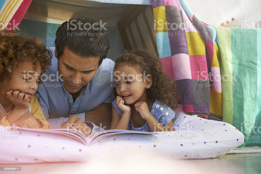 Dads always have time for blanket forts stock photo