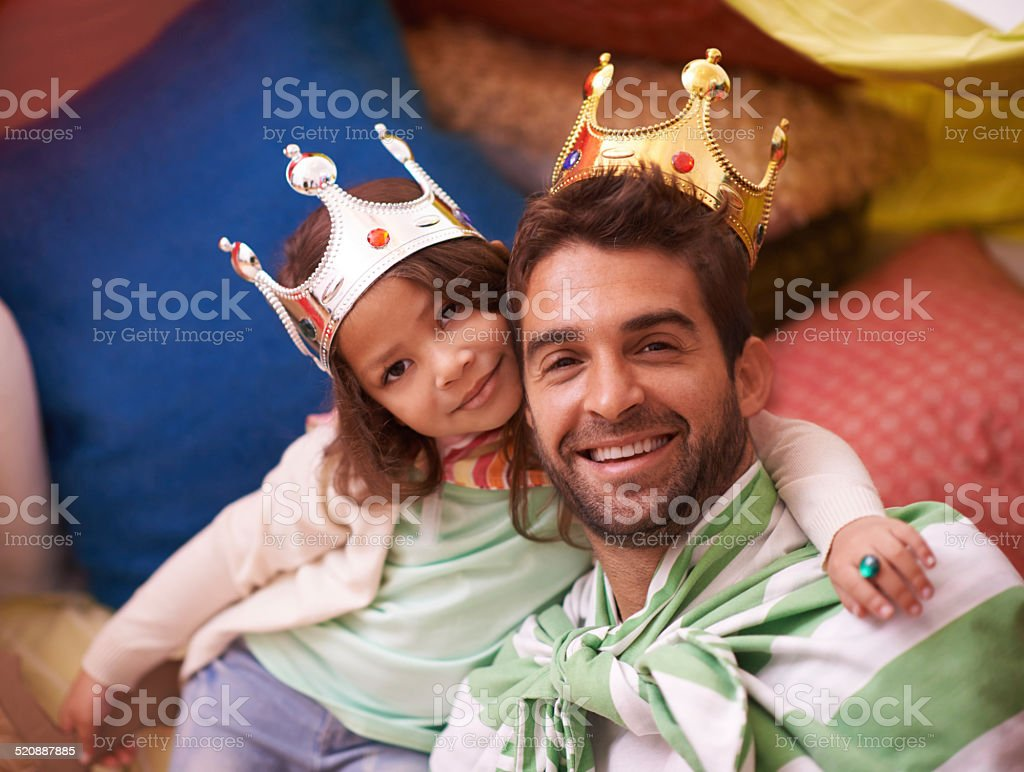 Dad's the king of her heart! stock photo