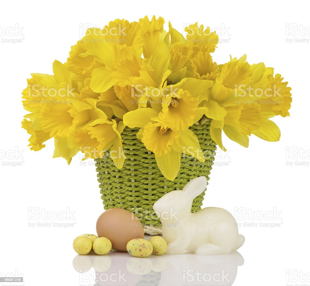 Daffodil Basket With Eggs And Bunny royalty-free stock photo