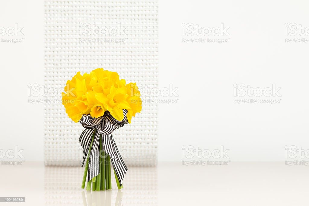Daffodil bouquet on blur background stock photo