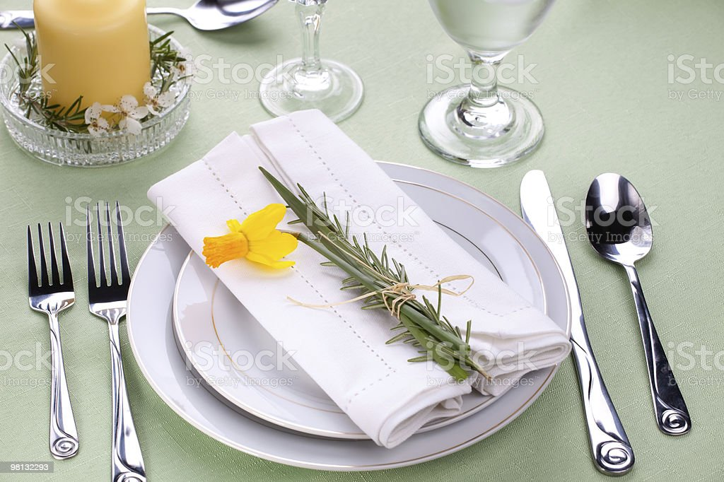 Daffodil table settings royalty-free stock photo