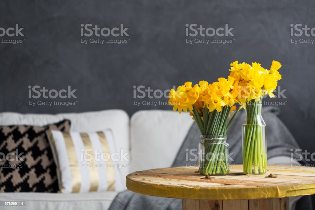 Daffodils in living room stock photo