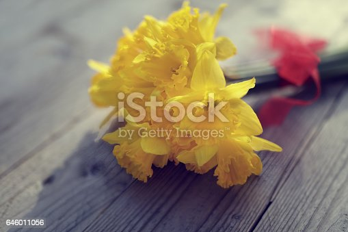 istock Daffodils on wooden table 646011056