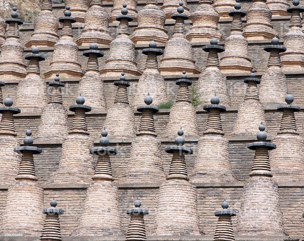 Dagobas in Xiakou Mountain, Ningxia province of China stock photo