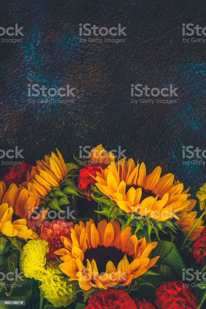 Dahlia and sunflowers royalty-free stock photo