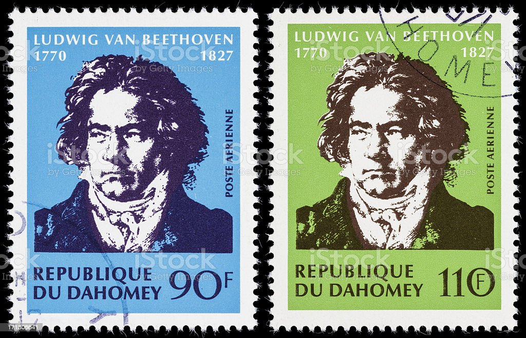 Dahomey Beethoven postage stamps stock photo