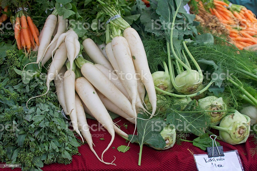 Daikon Radish and Kohlrabi stock photo