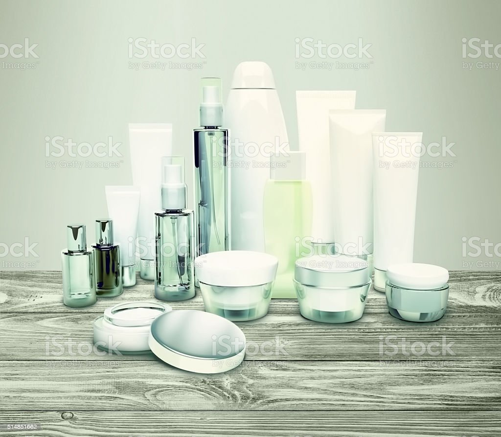 Daily, beauty care cosmetic. Face cream, eye cream, serum. stock photo