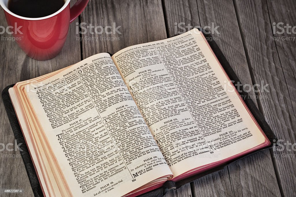 Daily Bible reading stock photo
