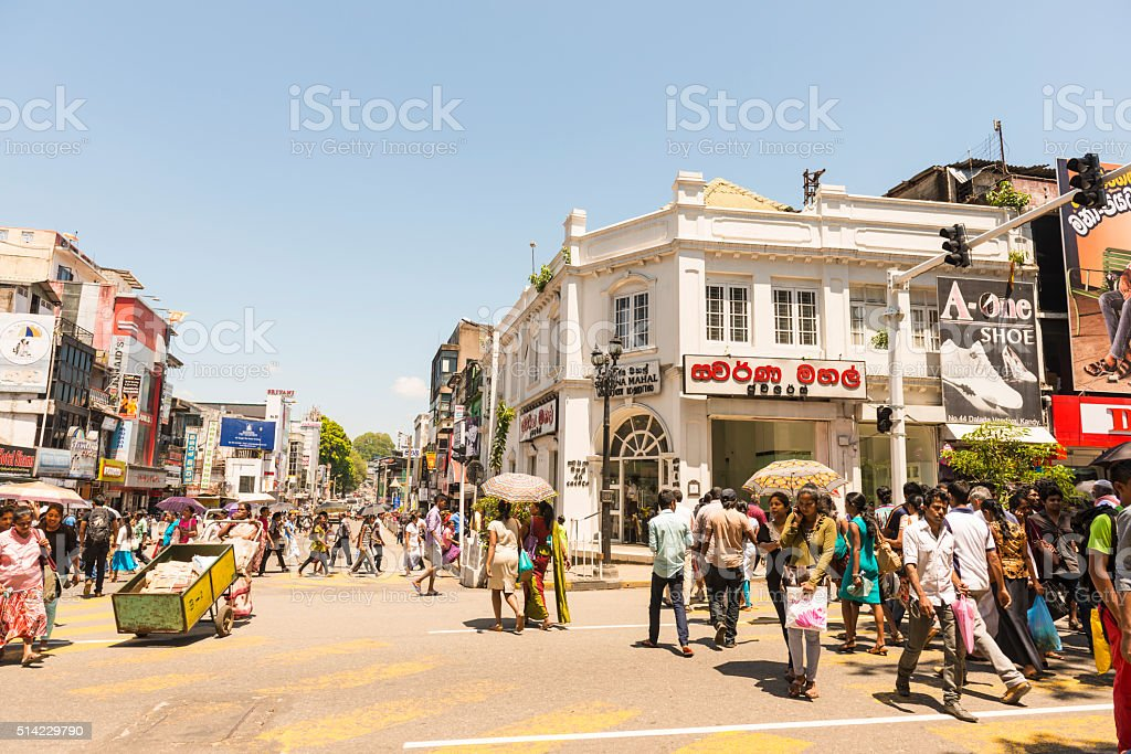 Daily hustle and bustle on the street in the Kandy stock photo