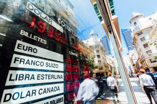 Daily Image. Electronic board with the exchange rate in the center of Buenos Aires (Argentina) during a day of devaluation stock photo