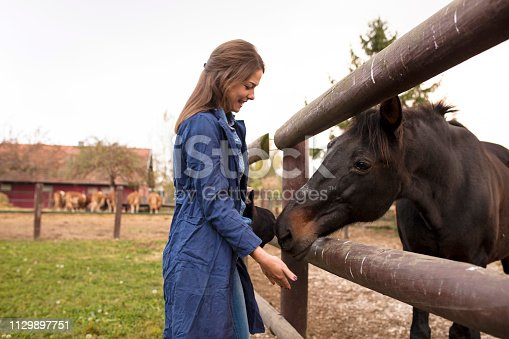 Young woman with horse outside at ranch
