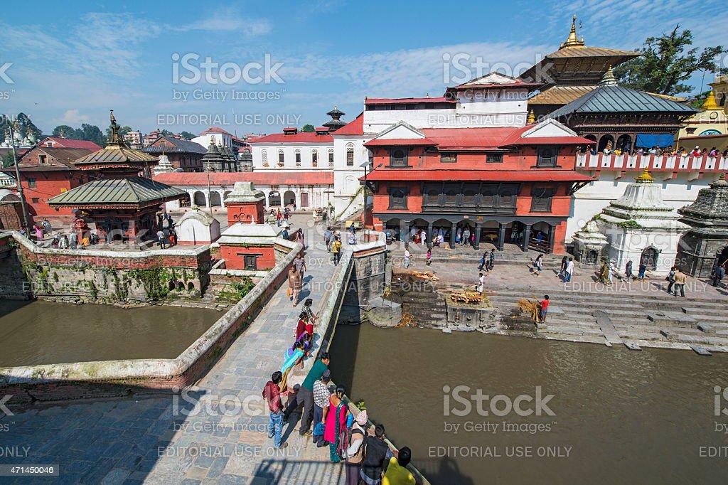 Daily life at Pashupatinath Temple, Kathmandu, Nepal stock photo