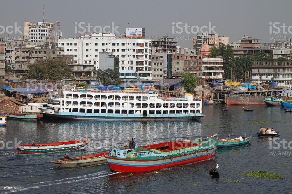 Daily life at the port of Dhaka, Bangladesh stock photo