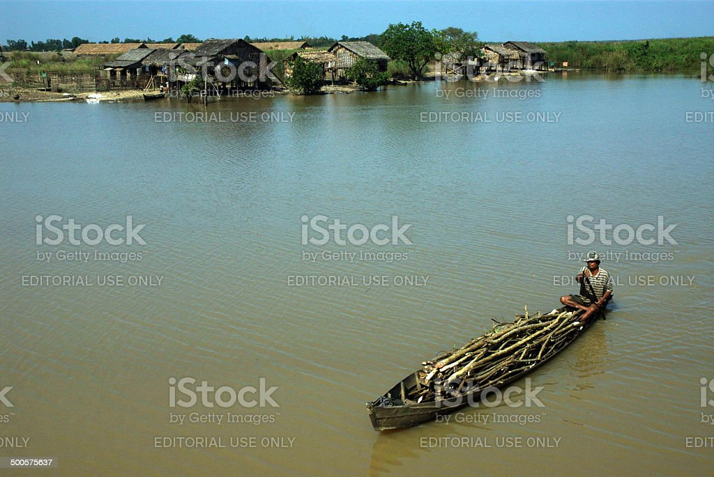 Daily life in canal near Inle lake. royalty-free stock photo