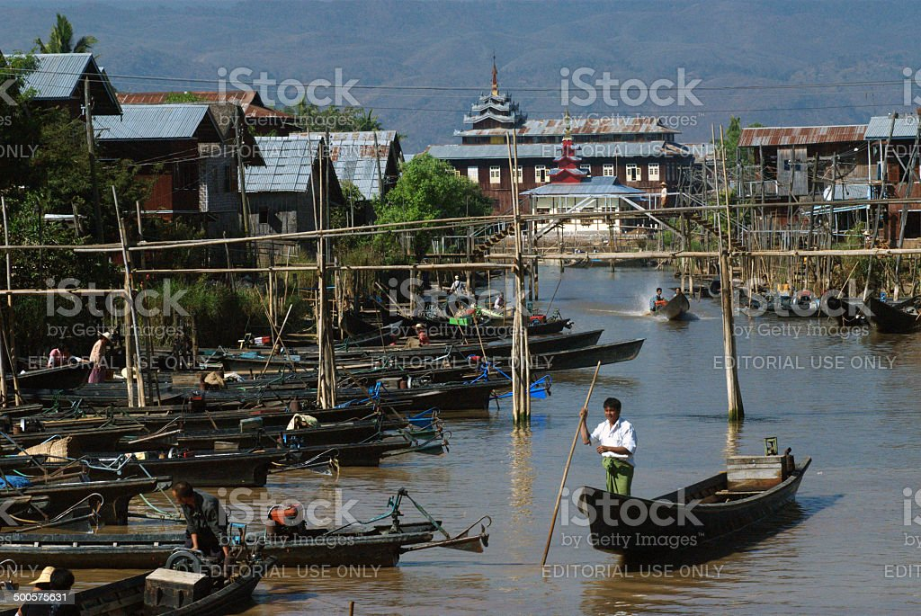 Daily life in canal near Inle lake,Myanmar. royalty-free stock photo