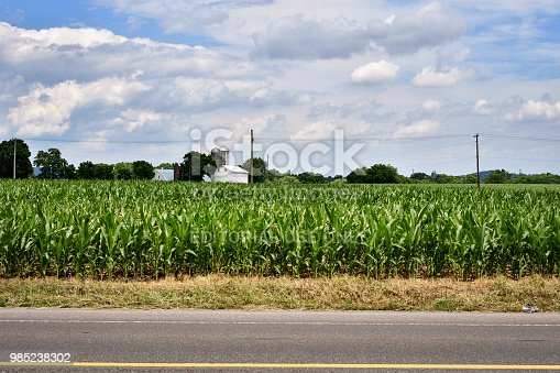 Lancaster County, PA, USA - June 24, 2018; Farmstead along Route 772 in the heart of rural Lancaster County, Pennsylvania, on June 24, 2018.