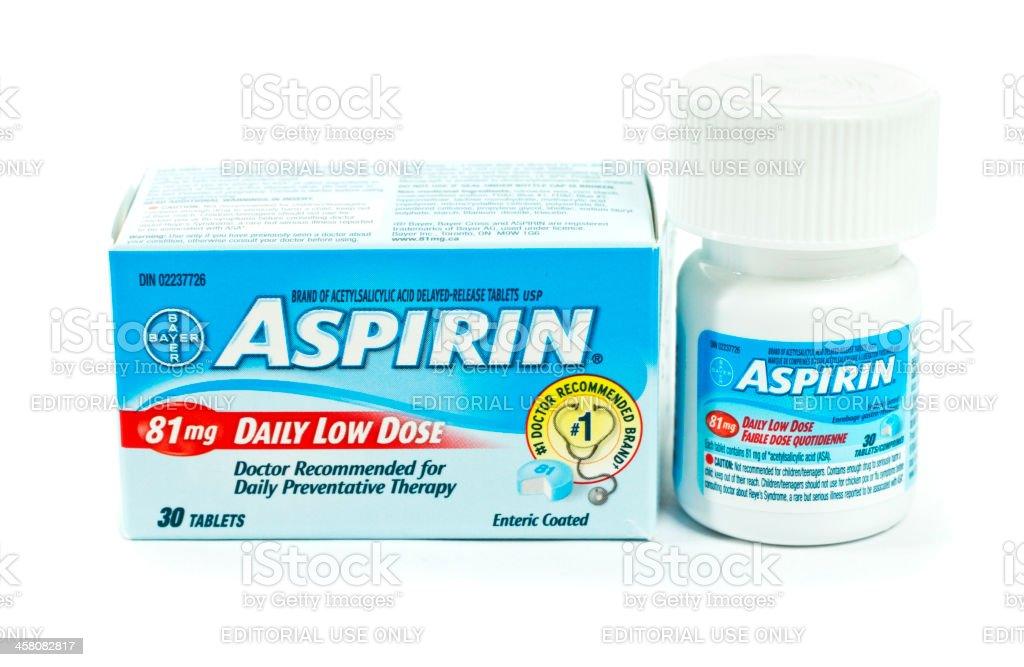 Daily Low Dose Bayer Aspirin and Box stock photo