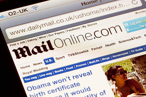 Daily Mail website viewed on an iPhone. stock photo