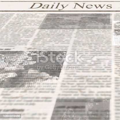istock Daily news newspaper with headline and old unreadable text 1084659486