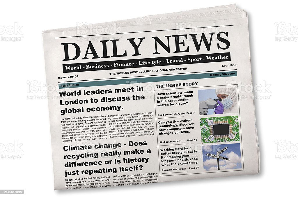 Daily Newspaper Mock up with fake articles stock photo