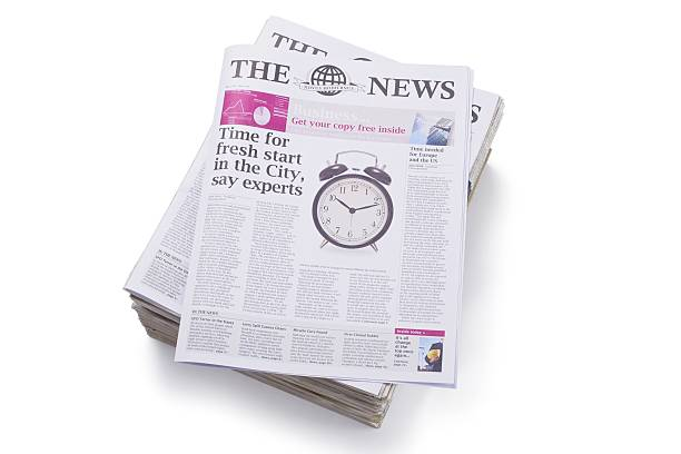 Daily Newspaper... Small stack of newspapersaA For more newspaper images please click on the banner below... newspaper cutouts of bad news headlines stock pictures, royalty-free photos & images