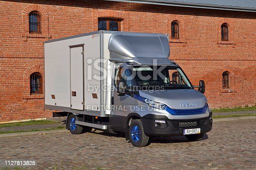 Sobienie, Poland - 10 May, 2018: IVECO Daily in CNG version with insulated container parked on the street. The Daily is one of the most popular commercial vehicles in Europe.
