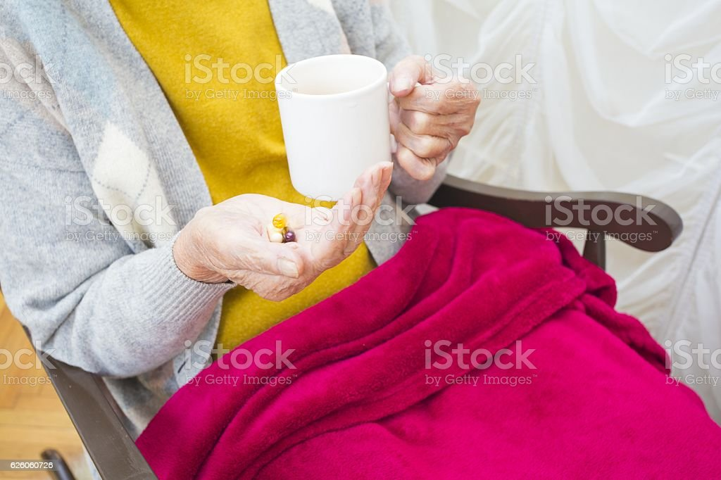 Daily pills for elderly people stock photo
