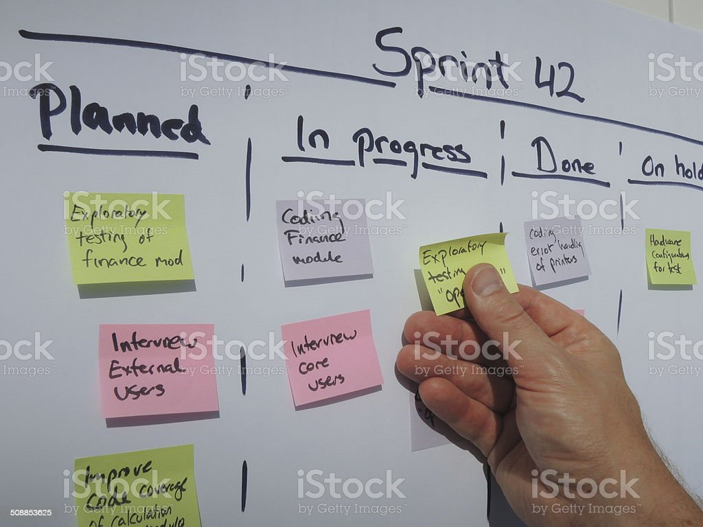Daily scrum updating the sprint plan stock photo